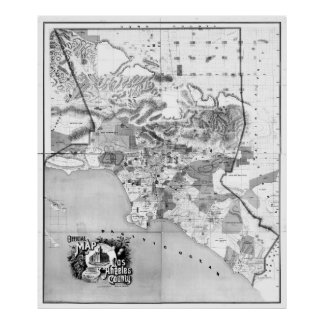 Vintage Map of Los Angeles County CA (1888) BW Poster