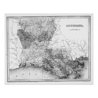 Vintage Map of Louisiana (1838) BW Poster