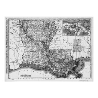 Vintage Map of Louisiana (1896) BW Poster