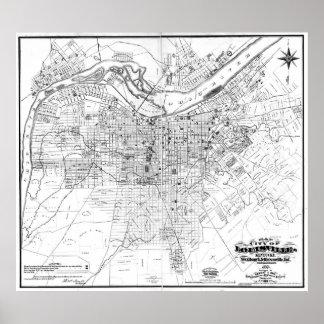 Vintage Map of Louisville Kentucky (1873) BW Poster