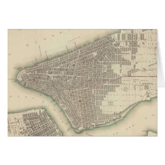 Vintage Map of Lower New York City (1840) Card