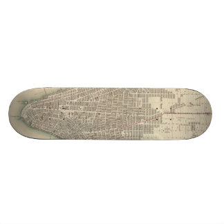 Vintage Map of Lower New York City (1840) Skateboards