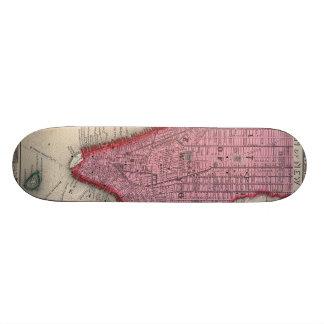 Vintage Map of Lower New York City (1860) 21.6 Cm Skateboard Deck