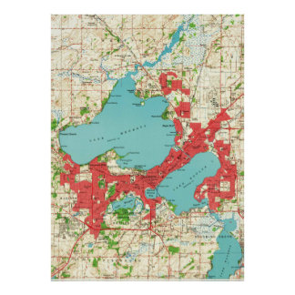 Vintage Map of Madison Wisconsin (1959) Poster