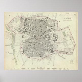 Vintage Map of Madrid Spain 1831 Poster