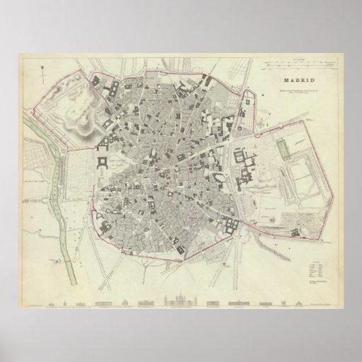 Vintage Map of Madrid Spain (1831) Poster