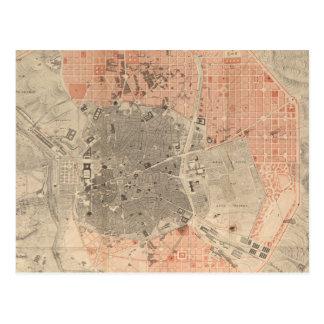 Vintage Map of Madrid Spain (1861) Postcard