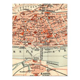 Vintage Map of Mainz Germany (1905) Postcard