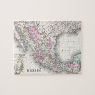 Vintage Map of Mexico (1855) Jigsaw Puzzles
