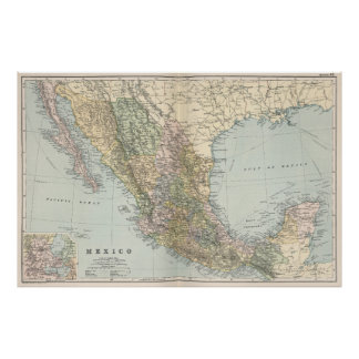 Vintage Map of Mexico (1891) Poster