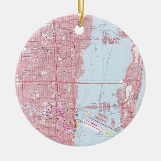 Vintage Map of Miami Florida (1962) Ceramic Ornament