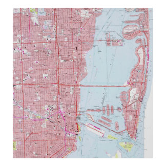 Vintage Map of Miami Florida (1962) Poster