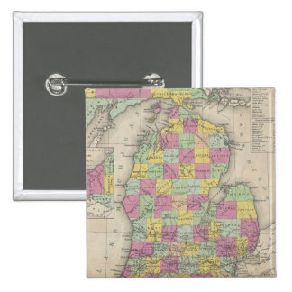 Vintage Map of Michigan (1853) 15 Cm Square Badge