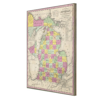 Vintage Map of Michigan (1853) Gallery Wrapped Canvas