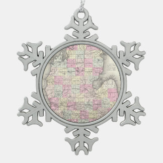 Vintage Map of Michigan (1855) Snowflake Pewter Christmas Ornament