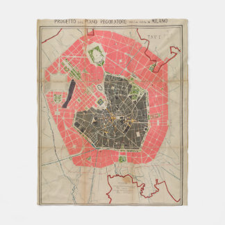 Vintage Map of Milan Italy (1884) Fleece Blanket