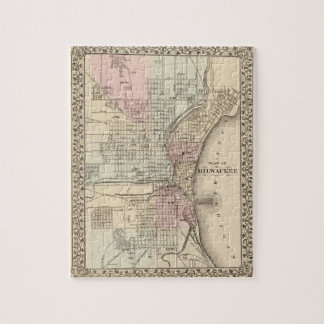 Vintage Map of Milwaukee (1880) Jigsaw Puzzle