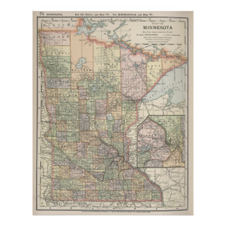 Vintage Map of Minnesota (1891) Poster