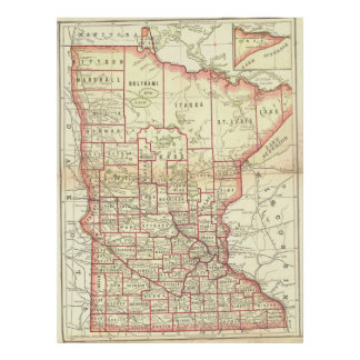 Vintage Map of Minnesota (1893) Poster