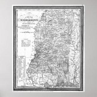 Vintage Map of Mississippi (1853) BW Poster