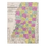 Vintage Map of Mississippi (1853) Post Card