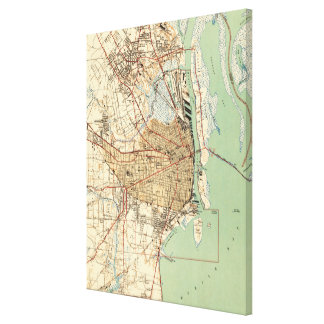 Vintage Map of Mobile Alabama (1940) 2 Canvas Print