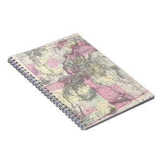 Vintage Map of Montana, Wyoming and Idaho (1884) Spiral Notebook