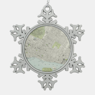Vintage Map of Montreal (1901) Snowflake Pewter Christmas Ornament