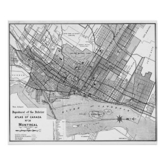 Vintage Map of Montreal (1906) BW Poster
