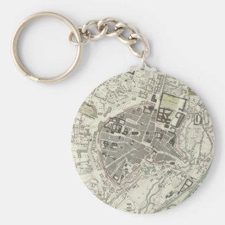 Vintage Map of Munich Germany (1832) Basic Round Button Key Ring