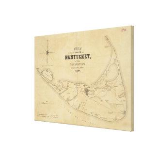 Vintage Map of Nantucket (1838) Canvas Print