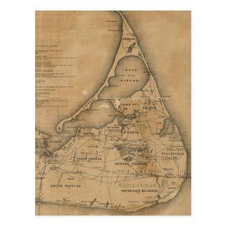Vintage Map of Nantucket (1869) Postcard