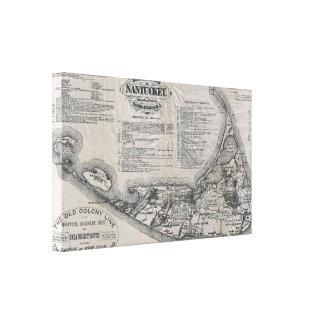 Vintage Map of Nantucket Canvas Prints