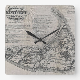Vintage Map of Nantucket Square Wall Clock