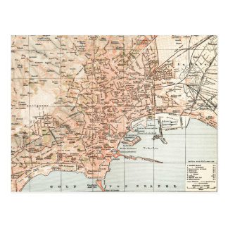 Vintage Map of Naples Italy (1897) Postcard