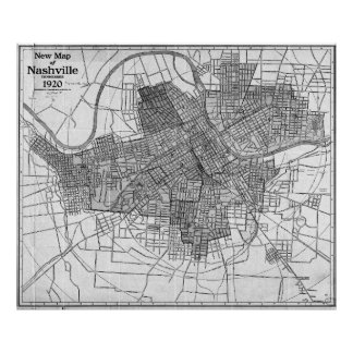 Vintage Map of Nashville Tennessee (1920) BW Poster