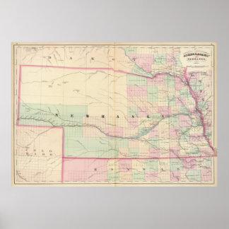 Vintage Map of Nebraska (1874) Poster