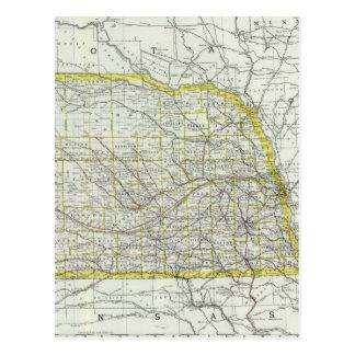Vintage Map of Nebraska (1889) Postcard