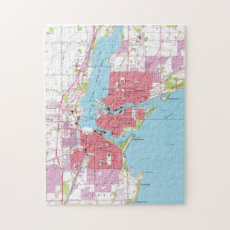 Vintage Map of Neenah Wisconsin (1955) Jigsaw Puzzle