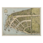 Vintage Map of New Amsterdam (1660) Poster