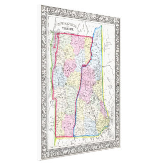 Vintage Map of New Hampshire and Vermont (1862) Canvas Print