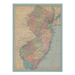 Vintage Map of New Jersey Poster
