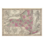 Vintage Map of New York (1864) Print
