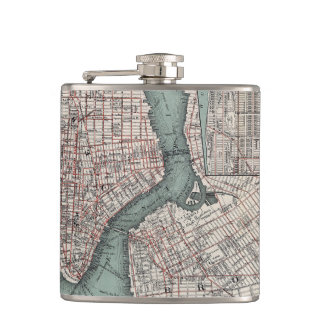 Vintage map of New York (1897) Hip Flask