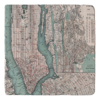Vintage map of New York (1897) Trivet