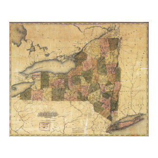 Vintage Map of New York by Henry S. Tanner (1823) Gallery Wrap Canvas