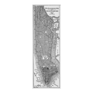 Vintage Map of New York City (1811) Poster