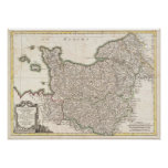 Vintage Map of Normandy (1771) Print