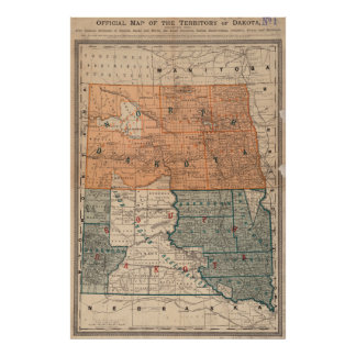 Vintage Map of North and South Dakota (1886) Poster