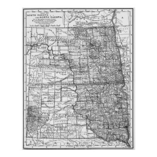 Vintage Map of North and South Dakota (1891) BW Poster